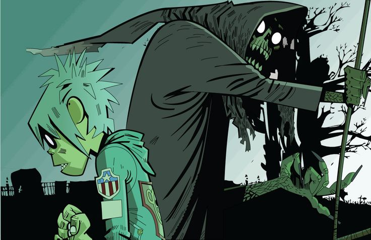 I love this picture with all my soul. You can see the fear on 2D's face as the figure of death walks past him. IN 2D's mind, Death is basically telling him that Noodle is gone. El Manana gorillaz