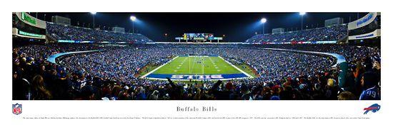 Buffalo Bills Ralph Wilson Stadium Night Game 2012 Panoramic Poster Print - Blakeway