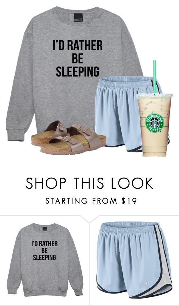 """Basically"" by flroasburn ❤ liked on Polyvore featuring NIKE and Birkenstock"