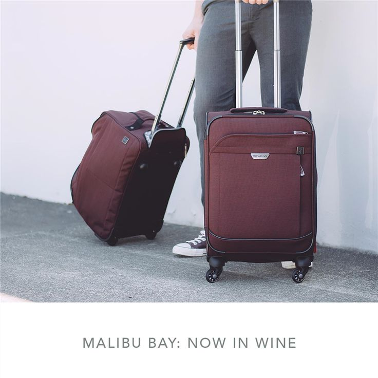 Malibu Bay collection shown in Wine color with rolling duffel and 20 inch wheeled carry-on upright luggage