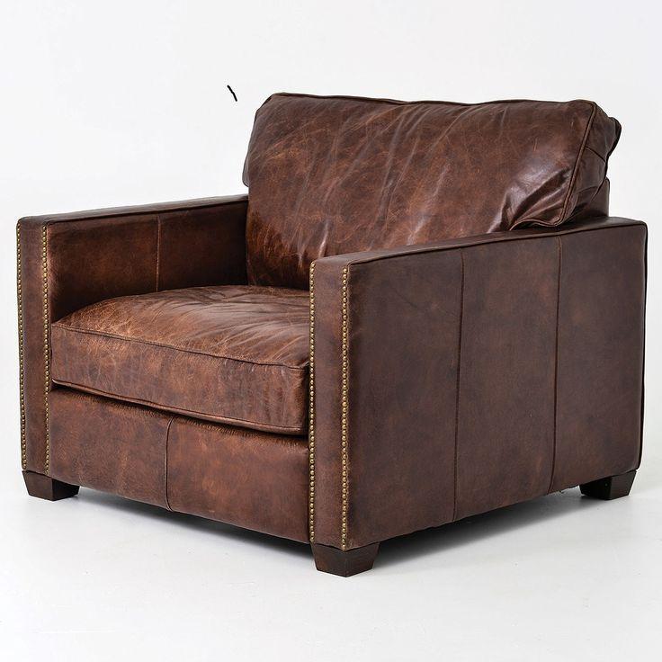 Ordinaire Larkin Vintage Cigar Distressed Leather Club Chair
