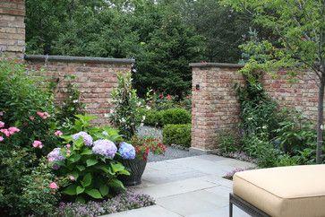 Hydrangea in front of a brick garden wall - Houzz (Rocco Fiore) | Garden, Patio, Deck | Brick garden, Cottage garden design, Garden wall designs