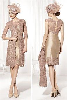 Sheath/Column Jewel Knee-length Taffeta Lace Mother of the Bride Dress