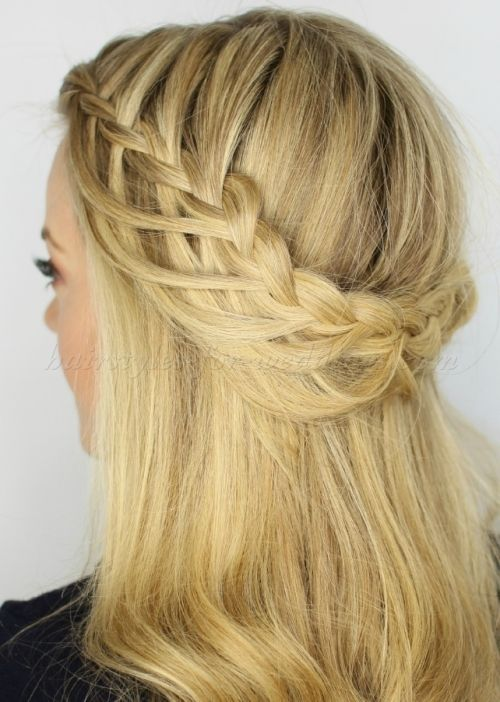 braided wedding hairstyles, bridal hairstyles with plaits - half loop braid