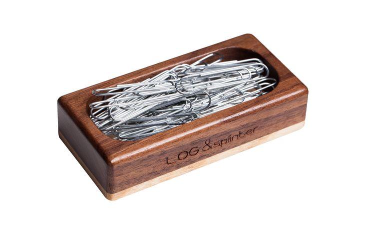Wood paper clip holder for desk, Wood scotch tape dispenser, Wood pen holder, Business card stand, Universal smartphone stand