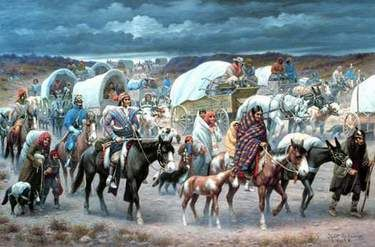 "Trail of Tears Robert Lindneux Painting   At the end of this somber ""Trail of Tears"", the Cherokee Nation settled in what is now present day Oklahoma, on land far inferior to that which they had been forced to vacate."