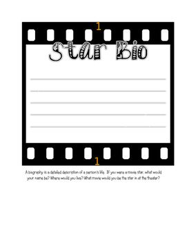 """This is a free download of the Star Bio I use for my Movie Themed Unit.  Have students fill it out, add a black and white picture of them doing their best Movie Star pose with a bright yellow star and use it to make a great bulletin board with """"Welcome to the Theater Where Every Student is a Star""""."""