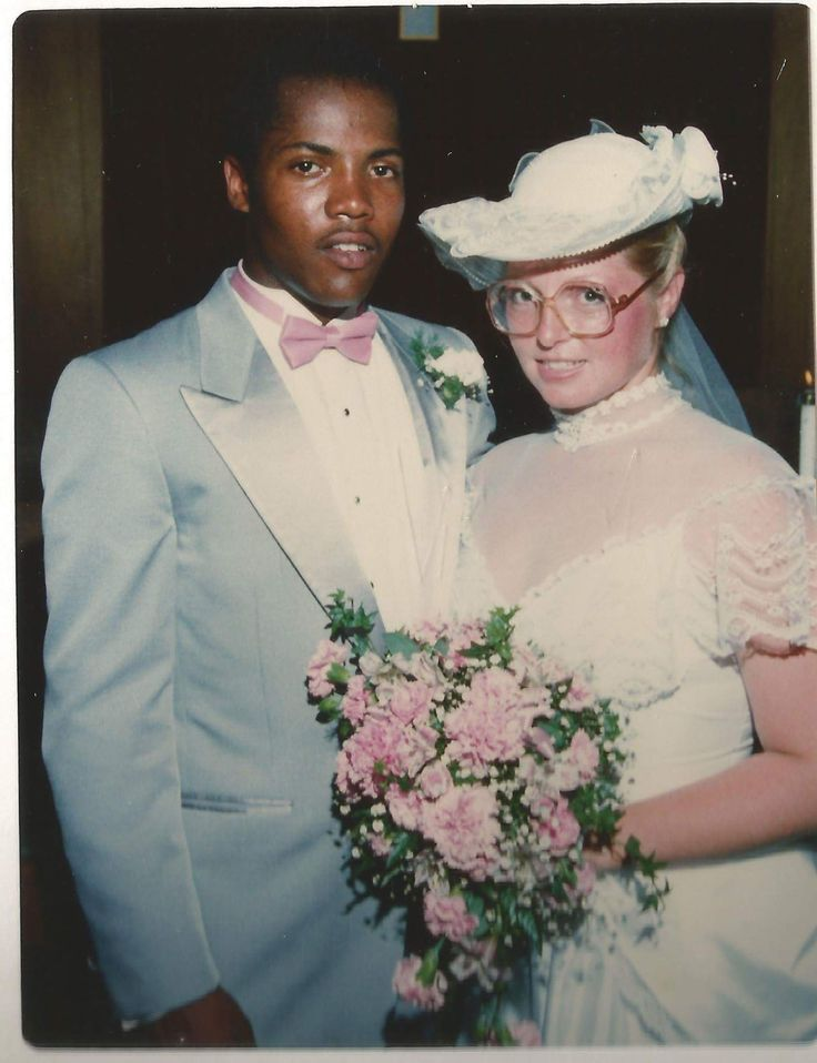 My parents wedding photo in 1984: First interracial couple in my moms hometown and first in my dad's family