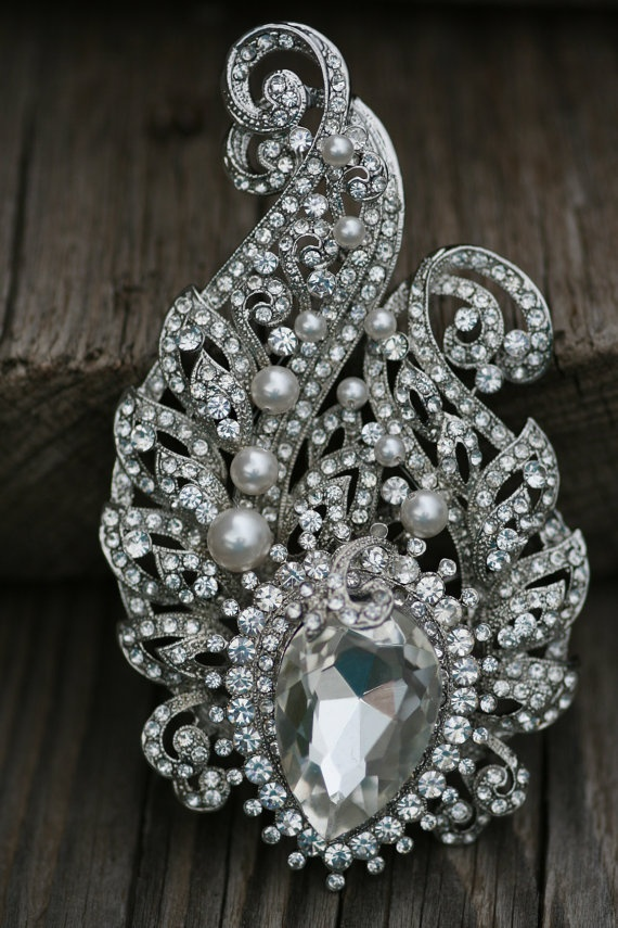 Pava Bridal Brooch or hair comb