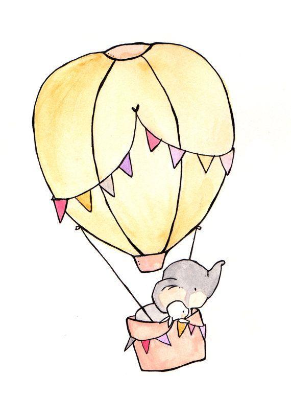 Fly Away Pink 8 x 10 Kindergarten Kunst, Elefant, …