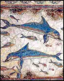 This is a Minoan fresco found at the palace of Knossos. Fresco paintings were formed by painting on a wall that was freshly covered with limestone, and did not have time to dry. I was actually able to visit this palace on Crete and it was amazing!
