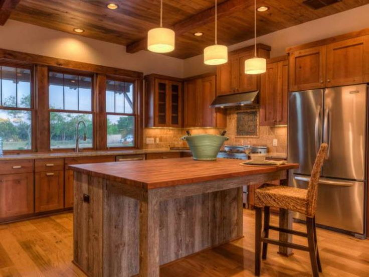Ideas For Reclaimed Wood Kitchen Island : Unique Design Reclaimed Wood  Kitchen Island With Hanglamp ~