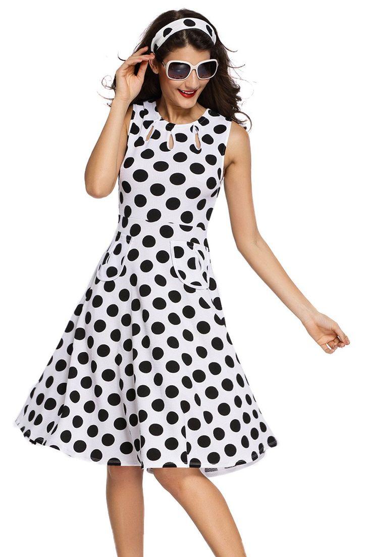 Robes Vintage Blanc Polka Dot Bohemain Robe Imprimee Avec Keyholes Pas Cher www.modebuy.com @Modebuy #Modebuy #CommeMontre #Blanc #me #styles