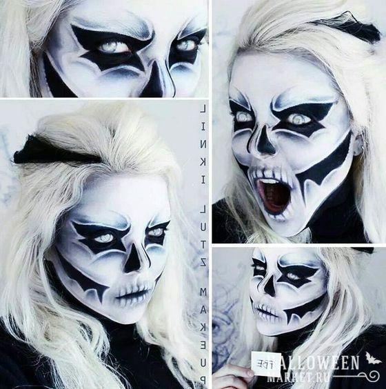 #makeup #skeleton #skull  #halloweenmarket #halloween  #грим #макияж #скелет #череп Макияж черепа на хэллоуин (фото)