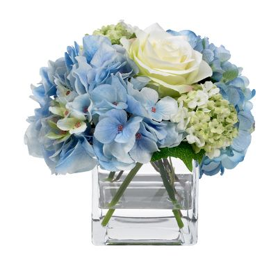 Blue Hydrangea and Rose Bouquet