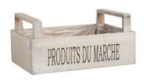 Cagette bois clair Produits du Marché. Dim. 26 x 17 x 8-12 cm.