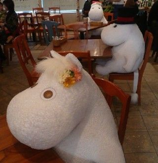 Japan's Moomin Cafe places large, stuffed Moomin dolls next to patrons if they are dining alone