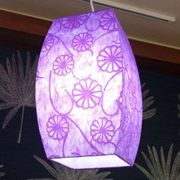 Korean Mulberry Paper Round Square Ceiling Lamp with Purple Flower Design
