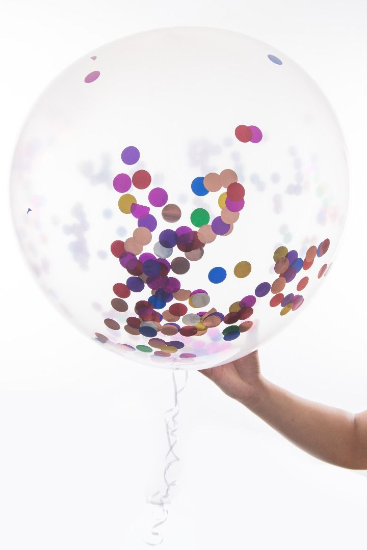 Our multi-colour Confetti Filled Balloons. Shop on Amazon, Etsy,..Your choice.
