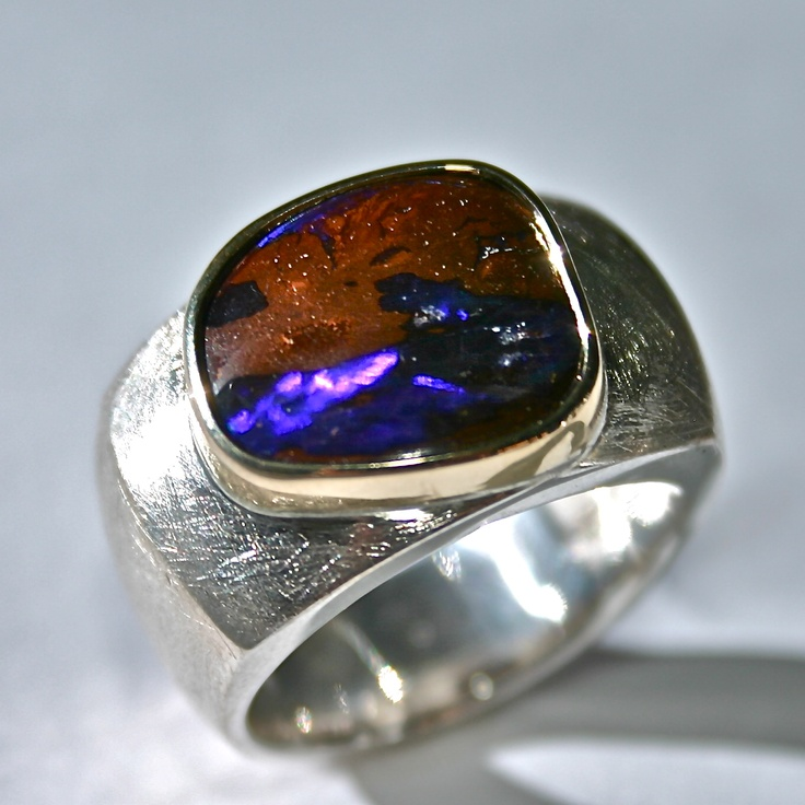 Boulder Opal in 18ct yellow gold and sterling silver ring
