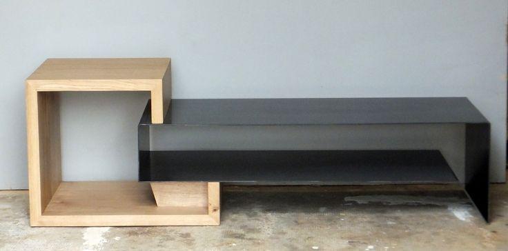 Meuble Tv industriel acier et bois MOBI051