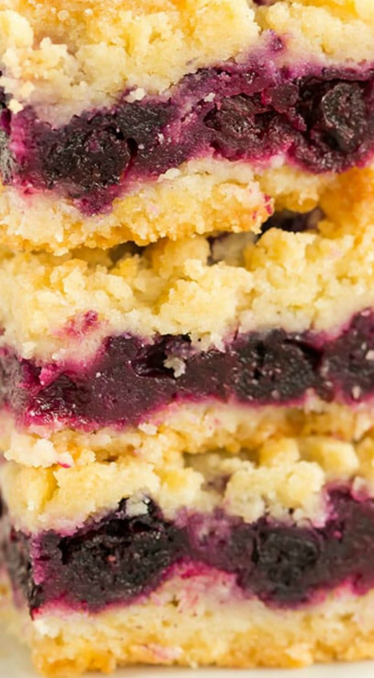 Blueberry Crumb Bars ~ Crazy easy to make and they rival your favorite blueberry pie recipe... You can pick them up and eat them on the go, which makes them a perfect dessert for picnics and summer parties!