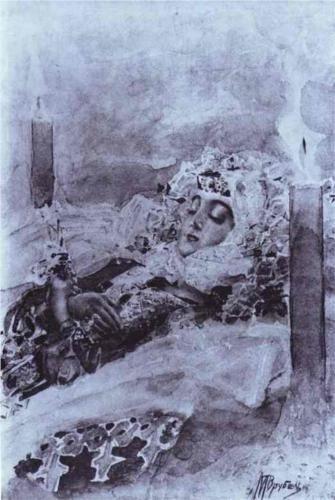 Tamara Lying in State - Mikhail Vrubel~1891
