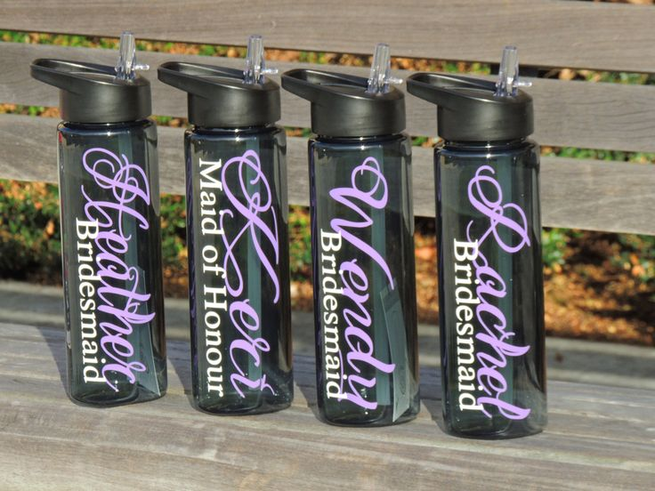 Bridesmaid water bottles, bachelorette party cups, bridal party sport bottles, personalized sports bottle, wedding party favor, personalized by ShopAroundTheCorner3 on Etsy