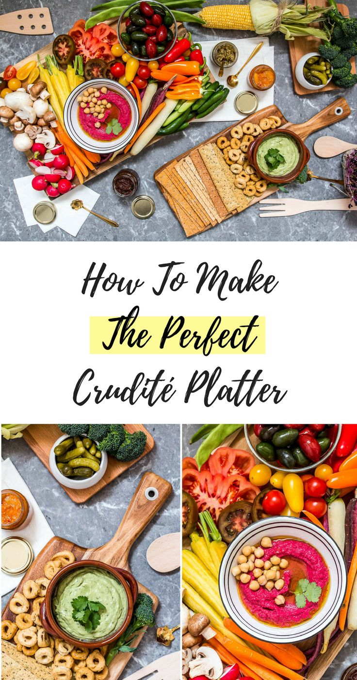 Learn How To Assemble The Most Gorgeous Crudité Platter! Fresh veggies, homemade healthy dips {beet hummus and avo-yogurt !} and healthy carbs! Click through for the full article featuring a step by step video tutorial @ www.hedonistit.com