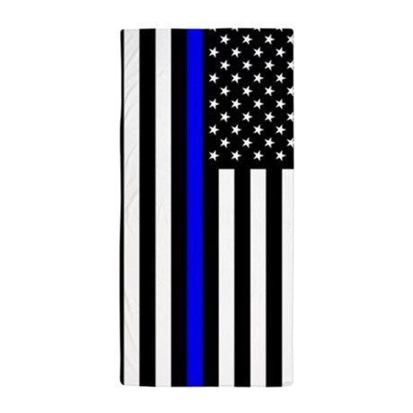 4fa7e4b453de U.S. Flag  Thin Blue Line Beach Towel on CafePress.com Police Gifts