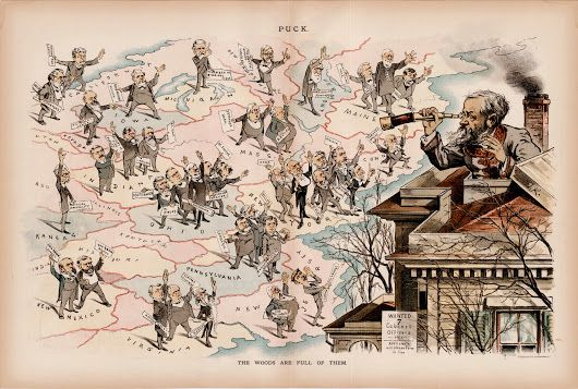 Puck cartoon satirizing the Benjamin Harrison Presidency, 1889  A splendid cartographic cartoon lampooning the flood of Republican office seekers after ... - Boston Rare Maps Inc - Google+