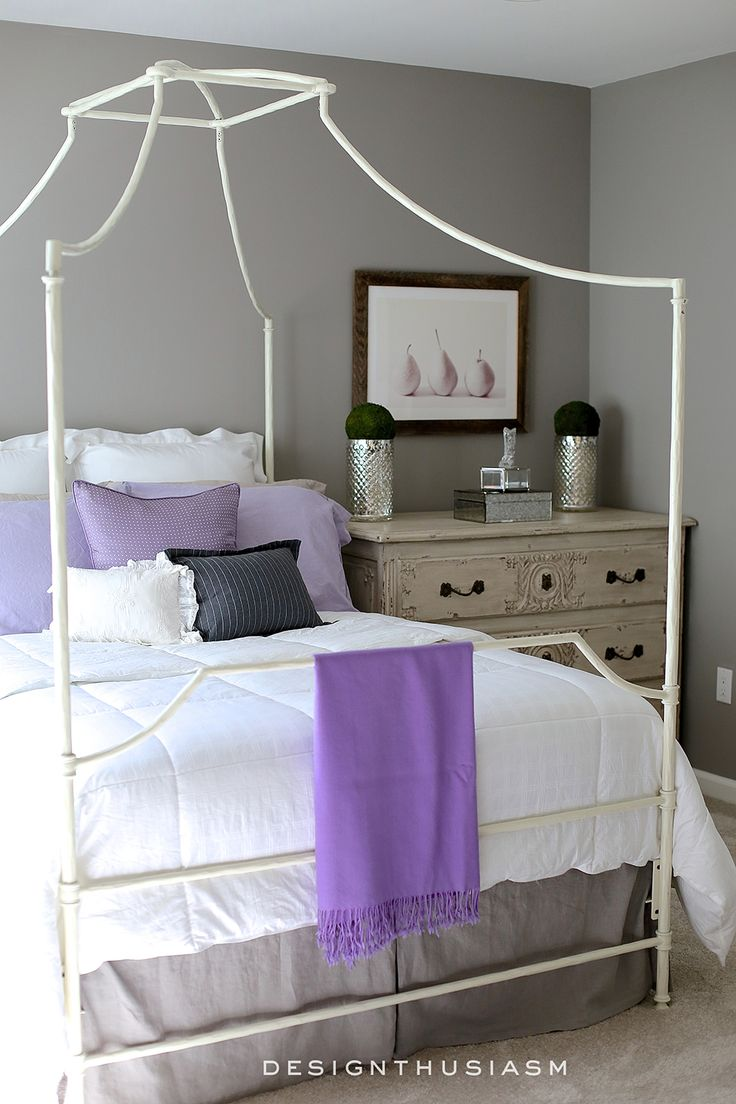 Paint colors for in bedroom traditional with exposed beams butter - Grey Bedroom Ideas Mixing Lilac And Grey In An Updated Bedroom