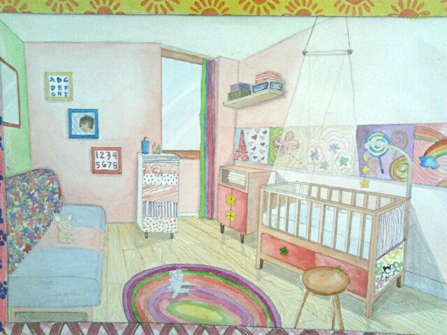 Nursery Room #GroupWork #InteriorDesign #rendered #perspective #pink #pastel #babygirl