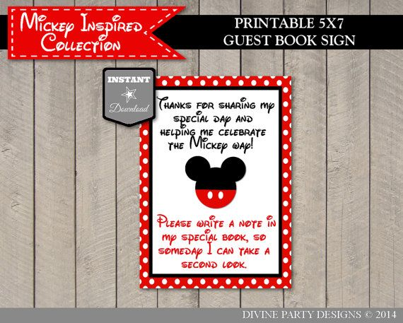instant download mickey mouse inspired 5x7 printable guest