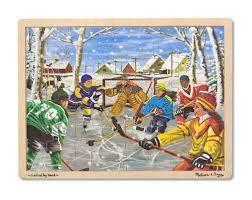 31997000946913 Hockey. Casse-tête en bois de 48 pièces.