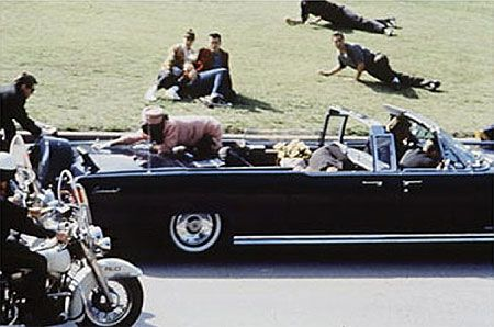 The moment in which J.F. Kennedy got assassinated in 1963...