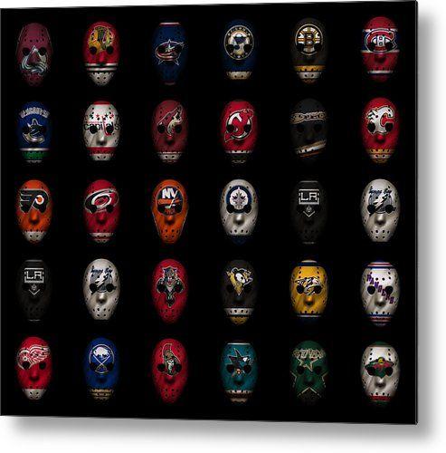 Hockey Metal Print featuring the photograph Hockey Jersey Goalie Masks by Joe Hamilton