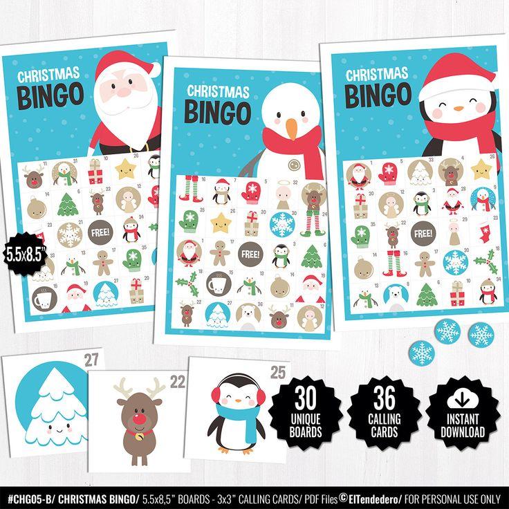 PRINTABLE Christmas Bingo, Christmas Games for Kids