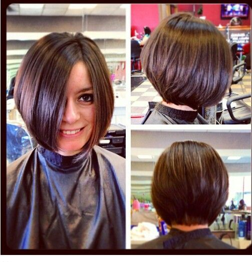 Short Stacked Bob Hairstyles Back View . Love this brunette!