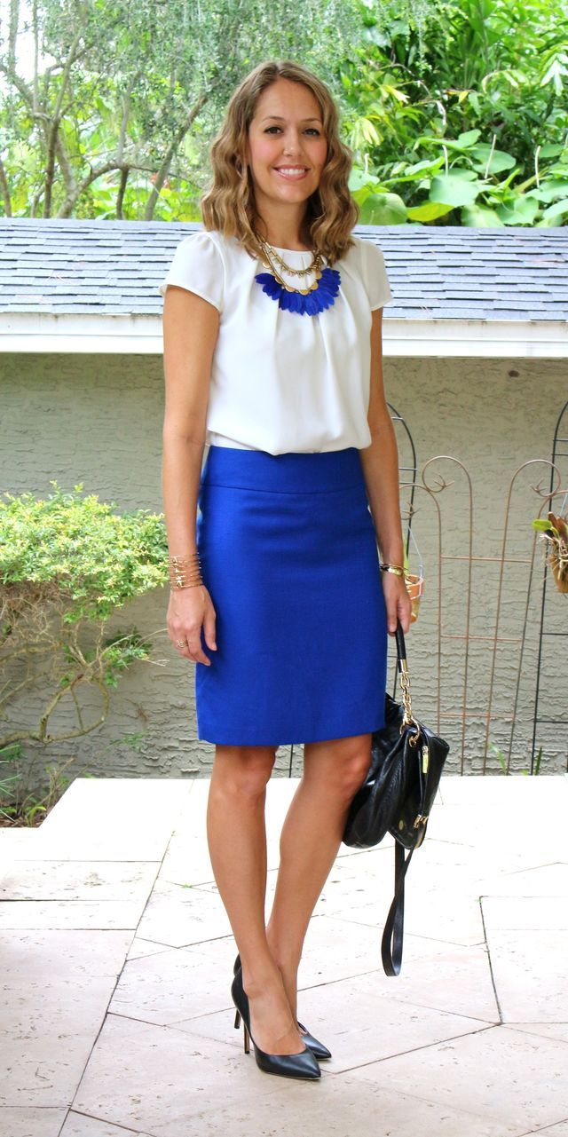 17 Best ideas about Blue Skirt Outfits on Pinterest | Blue skirts Office skirt outfit and Royal ...