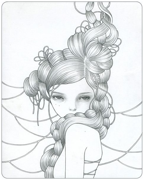 .: String Audreykawasaki, Amazing Art, Art Nouveau, Art Tattoo, Nouveau Girls, Audrey Kawasaki, Tattoo Design, Drawings Girls, String Art Patterns