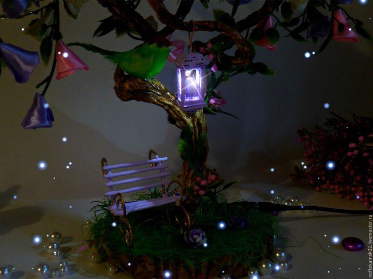 """Купить Топиарий с нестандартной кроной"""" Волшебный лес"""" - фиолетовый, волшебный лес, волшебное дерево"""