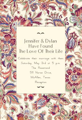 Floral Wedding Tapestry printable invitation template. Customize, add text and photos.  Print, download, send online or order printed!