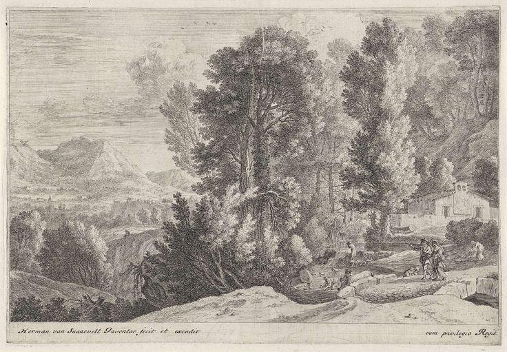 Herman van Swanevelt | Landschap met wasvrouwen, Herman van Swanevelt, 1650 - 1655 | Een man en een vrouw lopen op een pad voor een kerk in een bergachtig landschap. In de rivier naast het pad drenkt een man zijn ezel en doen twee vrouwen de was.