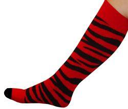 Red/Black Zebra Pattern Knee Socks