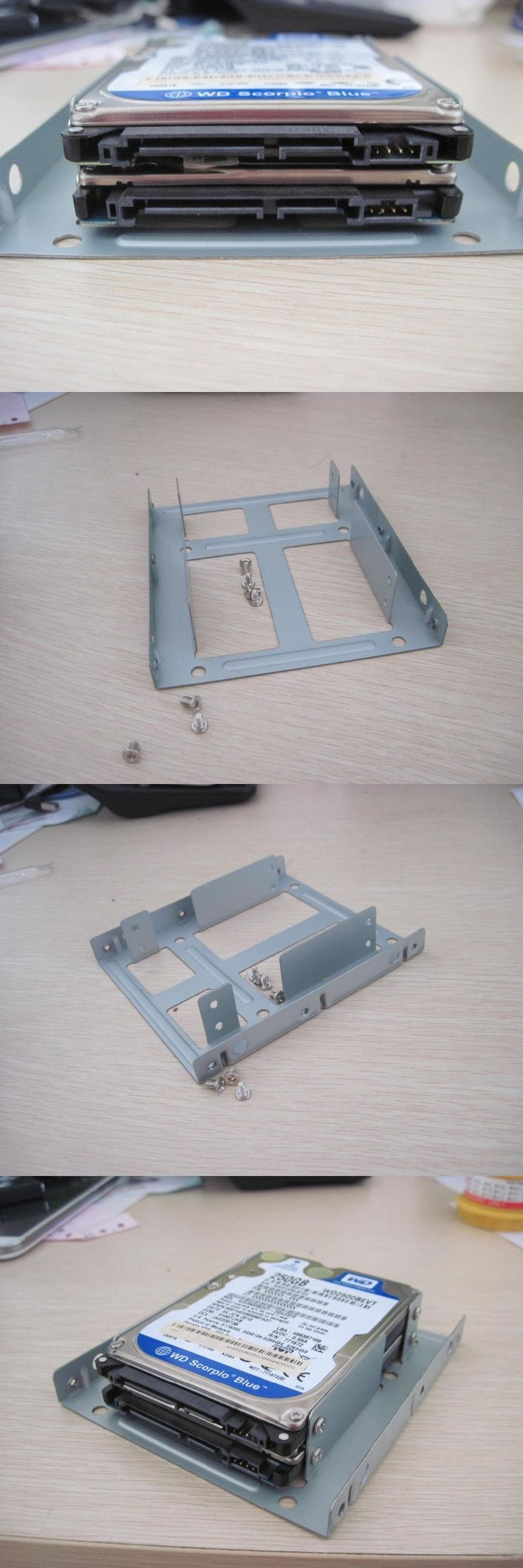 """2pcs---2.5"""" inch 2x Slot to 3.5"""" Hard Drive SSD HDD Converter Tray Caddy Bracket Carrier + Screws"""