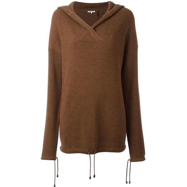 Helmut Lang Cotton Hoodie (660 AUD) ❤ liked on Polyvore featuring tops, hoodies, brown, hooded sweatshirt, cotton hoodies, helmut lang, brown hoodie and brown hoodies