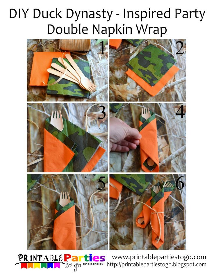 DIY Duck Dynasty-Inspired Party Double Napkin Wrap - Printable Parties to Go