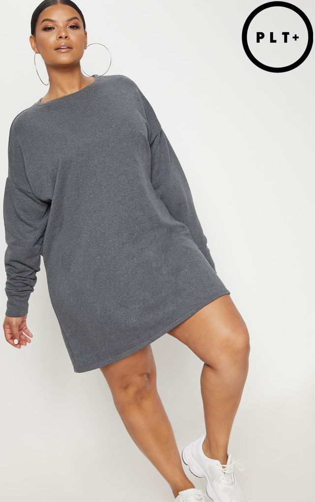 715dce7c1d0 Plus Charcoal Oversized Sweater Dress
