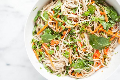 soba noodle salad with rainbow vegetables + sesame dressing